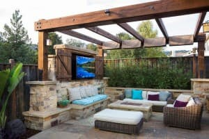 outdoor tv on a patio