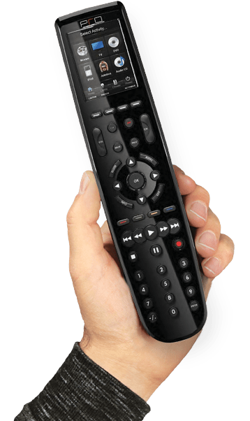 hand holding universal remote